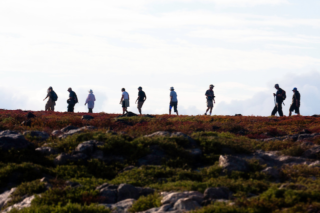 Hikers, South Plaza Island, Galapagos Islands, Ecuador.